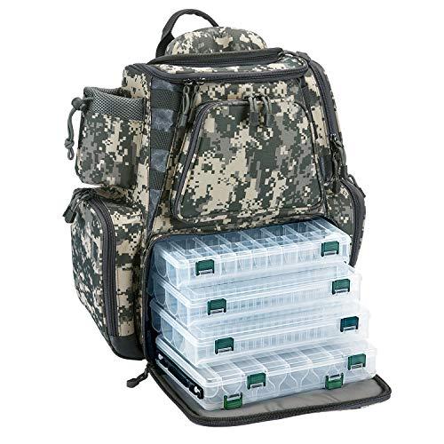 Piscifun Mochila impermeable de gran capacidad para aparejos de pesca con 4 bandejas de almacenamiento y cubierta protectora para la lluvia, mochila de camuflaje digital con cuatro bandejas