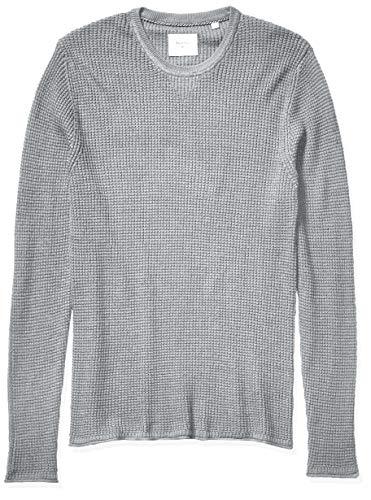 Billy Reid Men's Cotton Cashmere Mini Waffle Crew Neck Sweater, Grey, X-Large