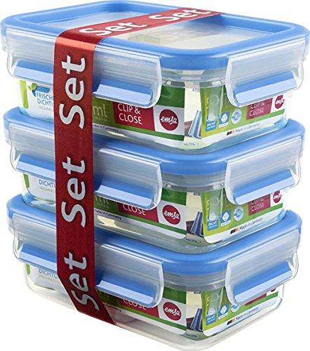 Emsa Clip&Close - Set de 3 Conservadores Herméticos de Plástico Rectangular de 0,55L , higiénico, no retiene olores ni sabores 100% libre de BPA