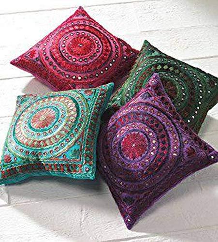 Federa decorativa per cuscino decorativa indiana, fatta a mano, con motivo floreale, per divano, stile bohémien, con paillettes ricamate a mano (set di 4 pezzi)
