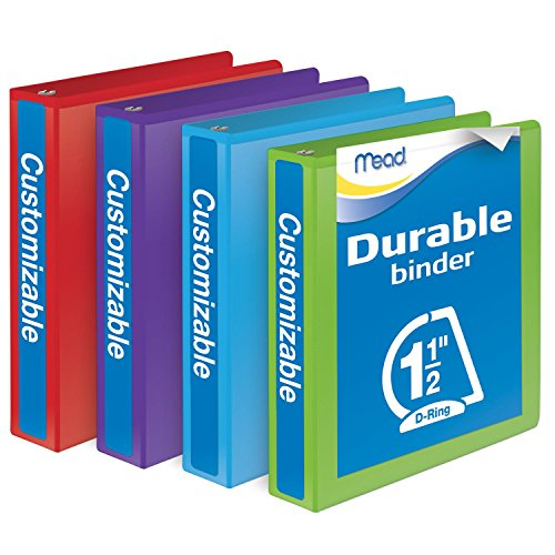 Mead 1-1/2 Inch Binders, D Ring Binders, Durable, Customizable, Assorted Colors, 4 Pack (W465-34APP)
