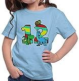 Hariz - Camiseta para niña, diseño de dinosaurio, dragón, 12 cumpleaños azul cielo 164 cm(14-15 År)