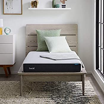 LUCID 6 Inch Memory Foam Soft Feel – Gel Infusion – Hypoallergenic Bamboo Charcoal – Breathable Cover Mattress Full White