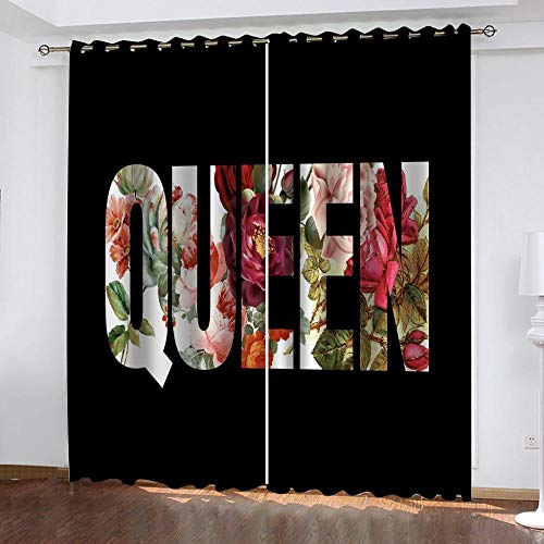 AnvvsovsWindow Curtain Eyelet Creative Pattern 3D Blackout Curtains Photo Print Super Soft Thermal Insulated 100% Polyester Window For Kitchen Bedroom Living Room Decoration (W) 170X(H) 200Cm -Girls