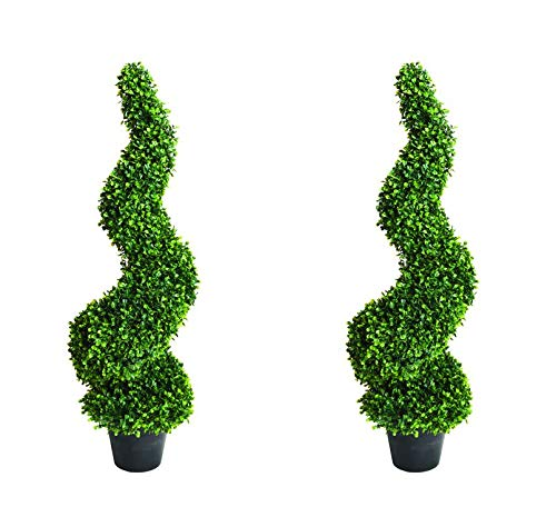 Artificial Buxus Topiary Spiral Trees In Pots, UV Stable, 90cm, 120cm & 150cm (2, 150)