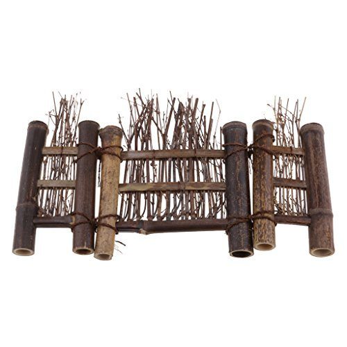LOVIVER Mini Natürlichen Bambus Zaun Bildschirm Miniatur Hausgarten Bonsai Dekor - 4, S