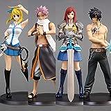 16 Cm 4 Pz / Set Anime Fairy Tail Figurine Natsu Dragnir Grigio Erza Scarlet Lucy Pvc Action Figure Collection Modello Giocattoli Regali