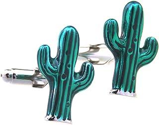 أزرار أكمام MRCUFF زوج صحراوي أخضر الصبار في صندوق هدايا وقطعة قماش تلميع