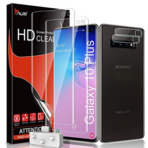 TAURI Schutzfolie Kompatibel Mit Samsung Galxy S10 Plus 2 Stück S10 Plus Schutzfolie TPU und 2 Stück S10 Plus Kamera Panzerglas Fingerabdruck-ID unterstützen Blasenfreie Klar HD Folie
