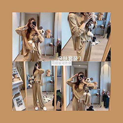 CCFF Pijamas Mujer InviernoPijamas de Gran tamaño Suelto Dulce-Beige_SGPijamas Mujer Algodon