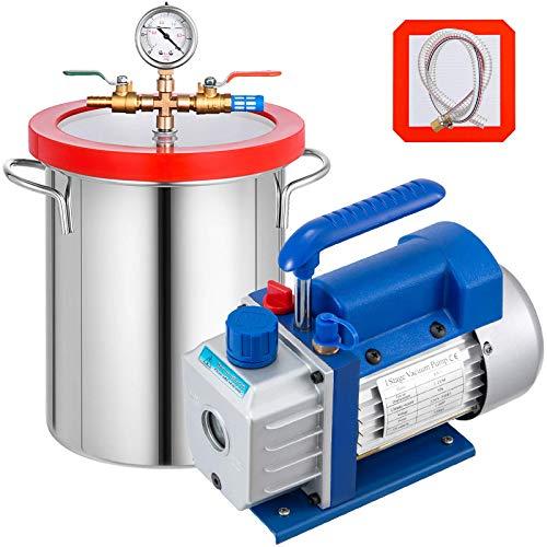 WYZXR Kit de cámara de vacío de 5 galones (22 litros) con Bomba de vacío de una Etapa de 3 CFM 1 / 4HP - Kit de refrigeración HVAC A/C