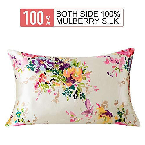 SLPBABY 100% Natural Silk Pillowcase for Hair and Skin, Both Side 16 Momme Silk, Hidden Zipper Design (50x75 cm, Pattern 5)
