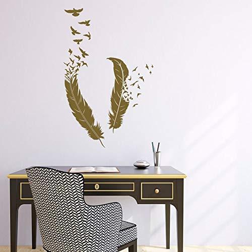 Etiqueta engomada de la pared de la pluma calcomanía de la pluma del pájaro-arte de la pluma del pájaro decoración de la sala de estar etiqueta de la pared calcomanía A8 57x89cm