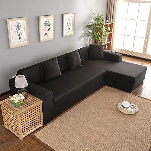 Funda de sofá esquinero universal en forma de L, de poliéster, para sofá de 5 plazas con chaise longue (negro)