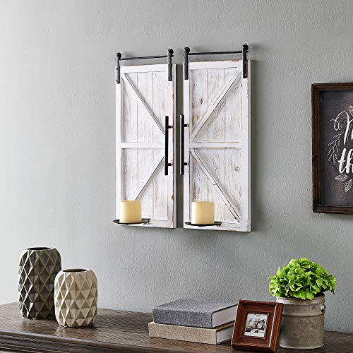 FirsTime & Co. Eastman Farmhouse Barn Door Wall Sconce 2-Piece Set, American Crafted, Aged White, 10 x 6.75 x 24 ,