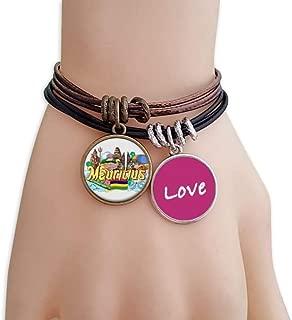 Seven Coloured Earth Mauritius Graffiti Love Bracelet Leather Rope Wristband Couple Set