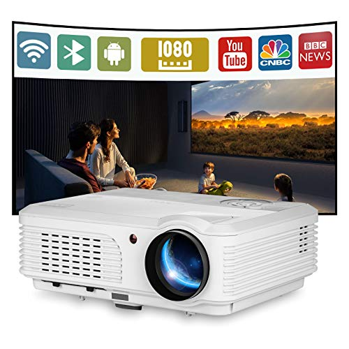 EUG Bluetooth LCD HD Video Projector Home Theatre 1080P 4400 Lumen Support Android WiFi Proyector Airplay E-Share LED Smart Projectors with HDMI USB VGA AV Audio for Smartphone DVD Laptop TV Stick PS4