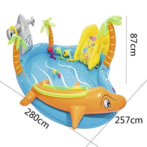 HIGHKAS Kinder Schwimmen aufblasbarer Pool Dolphin Fish aufblasbares Planschbecken mit Wasserrutschen Ocean Ball für 2-4 Jahre altes Kind - 280x257x87cm