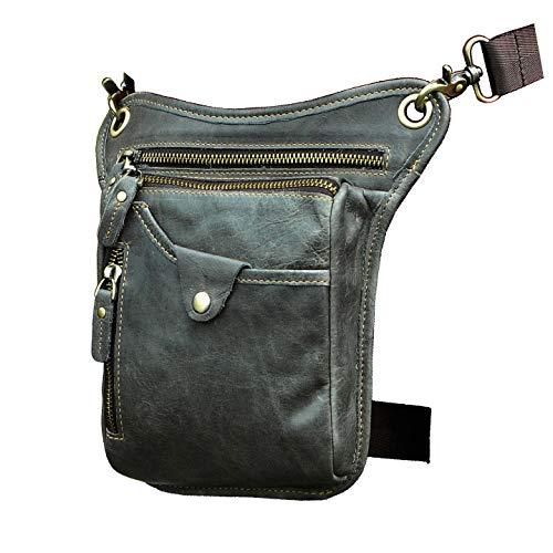 Le'aokuu Herren Echtes Leder Tasche Beinbeutel Beintasche Außenbeintasche Hüfttasche Drop Leg Thigh 211-5 (211-5 Dunkegrau)