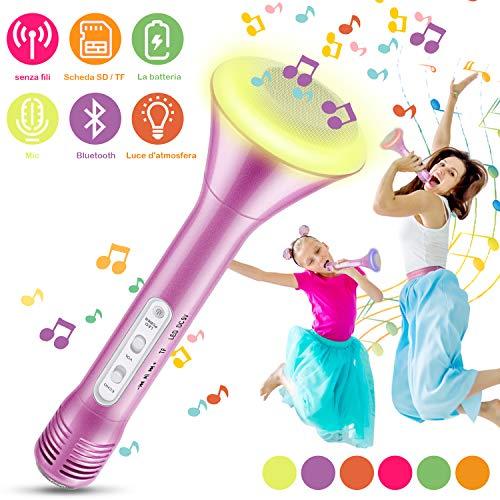Bluetooth Karaoke Mikrophon, Magicfun Multifunktional Tragbar Drahtlos Microphone, Karaoke Mikrofon schönes mit aufnahmefunktion, Geschenk für Kinder und Party Podcast Familie (Pink)