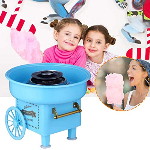 XXXVV Machine à Barbe à Papa Retro Cotton Candy Appareil pour Maison Coton Machine à Sucrerie Barbapapa Machine Barbe a Papa Machine Cotton Candy Machine Fete Foraine Anniversaire Enfant,Bleu