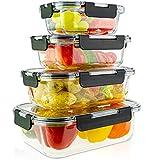 edallo® 4 Glas Frischhaltedosen mit Tritan® Deckel - Auslaufsicher, stapelbar - Spülmaschine, Ofen, Gefrierfach, Mikrowellengeschirr geeignet - Vorratsdosen Glas - Set: 370ml, 640ml, 1040ml, 1520ml