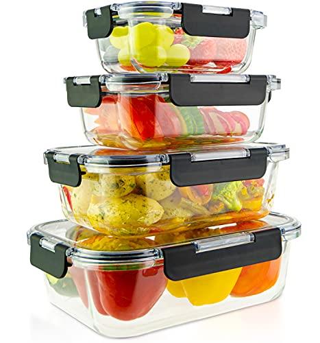 edallo® 4 recipientes de cristal para alimentos con tapas de Tritan® - Aptos para microondas, horno, congelador, lavavajillas - Tapers vidrio herméticos cocina - Juego: 370ml, 640ml, 1040ml, 1520 ml
