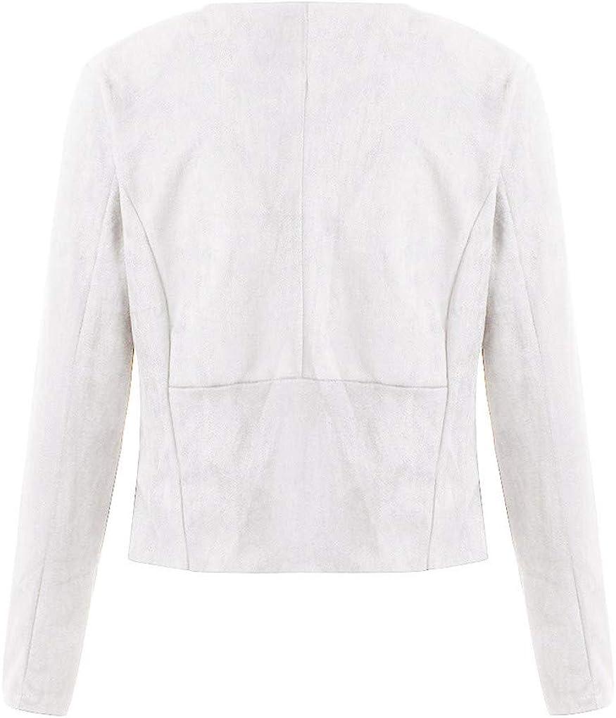 Dorical Anzug Mantel für Frauen, Damen Langarm Kunstleder Open Front Kurz Blazer Cardigan Jacke Arbeit Büro Wasserfall-Ausschnitt Asymmetrisch Jacket Weiß