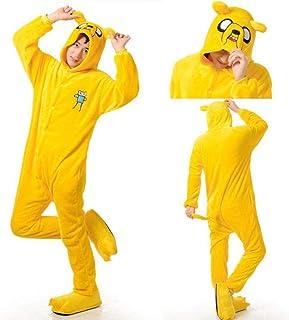 Link Adulto Finn y Jake Onesies Disfraz de Aventura Pijama de Perro Amarillo Animal Fiesta de Halloween Monos Kigurumi