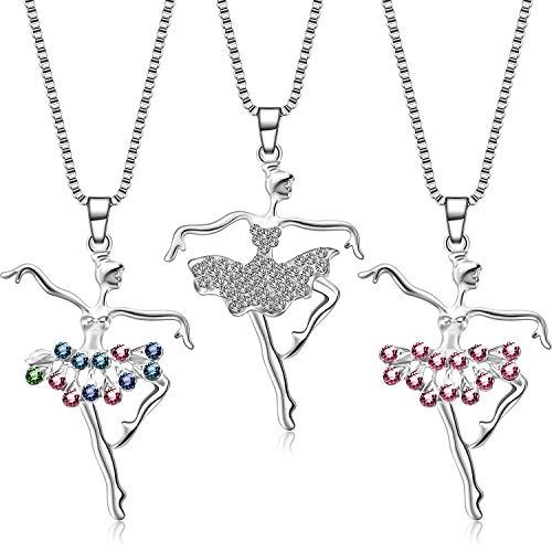 3 Piezas Collares de Bailarina Collar de Colgante de Danza Ballet Collar de Bailarina de Ballet de Cristal Regalo de Joya de Colgnate para Llenadores de Bolsas de Regalos y Fiesta de Cumpleaños