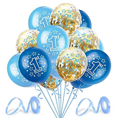 O-Kinee Palloncini Azzurri Primo Compleanno, Palloncini 1 Azzurri, Palloncino Numero 1, Palloncini 1 Anno Bimbo, 1 Compleanno Bambino Decorazioni, Feste 1 Compleanno Bimbo