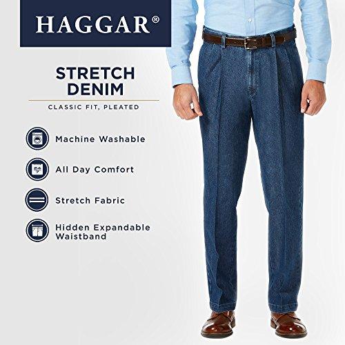 Haggar Men's Stretch Denim Expandable Waist Classic Fit Pleat Front Pant, Medium Blue, 38Wx30L