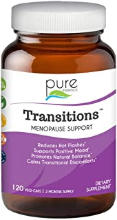 Transitions by Pure Essence Labs - Natural Menopause Relief Supplement - Promotes Hormone Balance, Reduces Hot Flashes, Mood Swings, Night Sweats - 120 Capsules