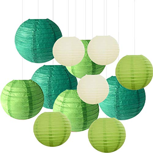 "Sonnis 12Pcs Round Paper Lanterns Size of12""10""8""6""Chinese/Japanese Paper Hanging Decorations Ball Lanterns Lamps for Birthday Wedding Christmas Party Decorations (Green)"