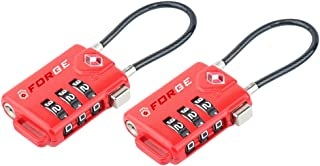 TSA Approved Cable Luggage Locks, Re-settable Combination with Alloy Body … (Red Two Pack)