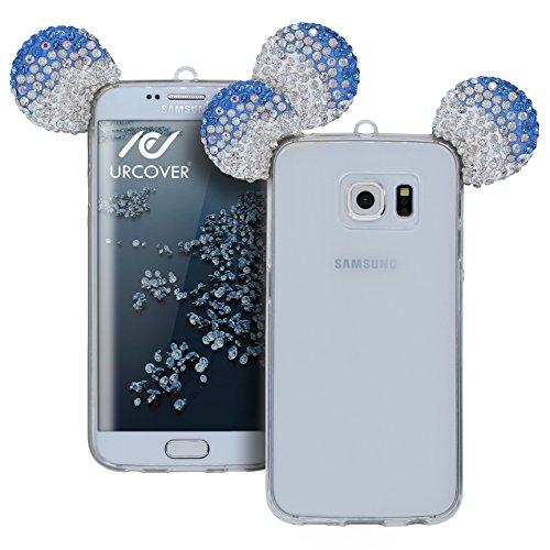 Urcover Custodia Compatibile con Samsung Galaxy S6 Edge Plus Back-Case Orecchie da Topolino in TPU Morbida, Cover Protettiva da Donna ultraslim Flessibile con Strass Brillantini - Azzurro Argento