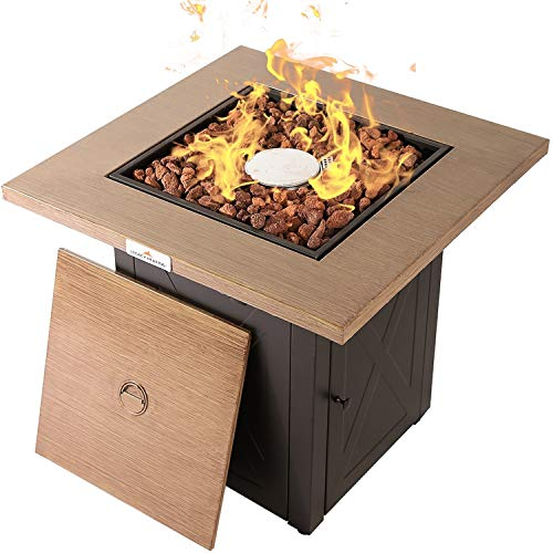 LEGACY HEATING 28 Inch Outdoor Gas Propane Fire Pit Table 50000BTU Bionic Wood Grain fire pits...