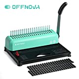 OFFNOVA 21-Hole 450 Sheets Paper Comb Punch Binder, Binding Machine for Letter Size / A4 / A5, Easy to Punch Handle, Adjustable Margin