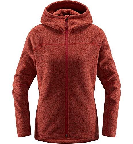 Haglöfs Fleecejacke Frauen Kapuzenjacke Swook Hood Wärmend, Atmungsaktiv, Elastisch Brick Red S S