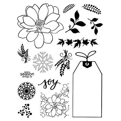Flower Joy Happy Holiday Series Sello de Copo de Nieve Transparente con Diferentes Elementos, Troquel de Corte de Metal para Hacer Tarjetas, álbumes de Recortes, Manualidades Hechas a Mano