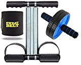 Tummy Trimmer and Ab Wheel Roller & Sweat Belt Combo Core Abdominal Belly Six Pack Abs Exercise Home...