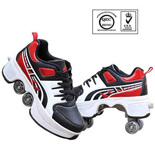 SHANGN Deformations-Rollschuhe, Inline-Skates, 2-in-1-Mehrzweckschuhe, Verstellbare Quad-Rollschuhstiefel Indoor-Rollschuhe Für Jungen Mädchen Pro Combo Multi-Schuhe,RedBlack-40
