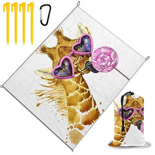 Find Bargain Outdoor Picnic Blanket 67x57inch Giraffe and Sweet Candy Foldable Waterproof Extra Larg...