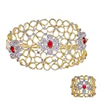 ZENEME Fashion Red Gold Plated Bracelet and Ring Jewellery for Women