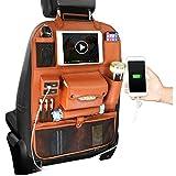 CLX Organisator Automatten-Tritt Wasserdicht Schutz Rücksitz mit Multi Taschen Transparent Tablet-Halter,Braun