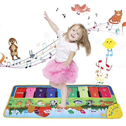 YUNKE Kids Piano Mat, Multi-Functional Floor Musical Playmat, Electronic Music Animal Touch Play Blanket Toys for Kids Baby Toddler Aged 3-6