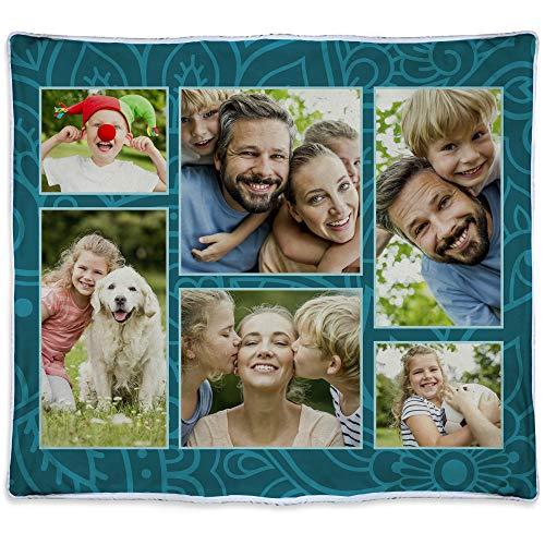 LolaPix Manta Personalizada Seis Fotos Regalos Personalizados con Foto. Manta Polar Personalizada 1 Cara. Multifoto. Manta para sofá y Cama. Tejido Certificado Oeko-Tex. 140x125cm. Manta Cálida. Azul