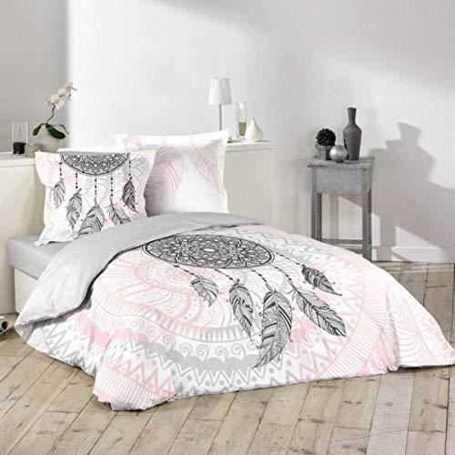 Funda de edredón Namaste atrapasueños, color rosa y gris, 220 x 240 cm, 2 personas, 100% algodón, edición limitada