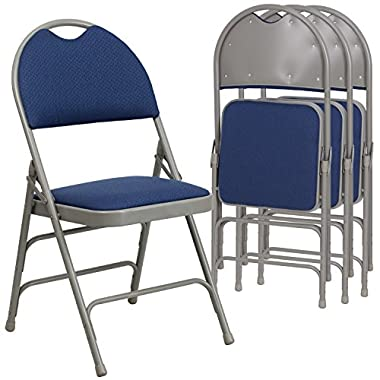 Flash Furniture 4 Pk. HERCULES Series Ultra-Premium Triple Braced Navy Fabric Metal Folding Chair with Easy-Carry Handle
