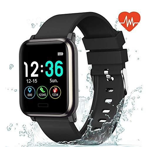 YZY 2019 Fitnessarmband tracker, activiteitentracker, met hartslagmeter, 1,3inch groot kleurenbeeldscherm, stappenteller, sport smartwatch voor mannen vrouwen en Android iOS